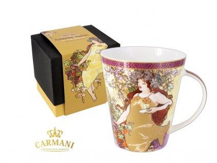 """Carmani - Porcelánový hrnek Alfons Mucha """"podzim"""" v dárkové krabičce - 450 ml"""