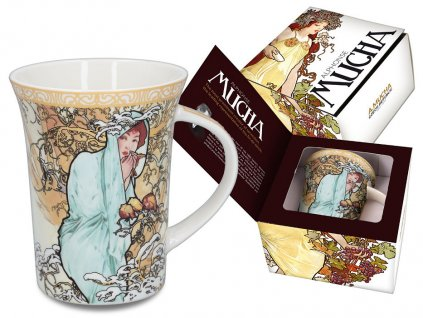 """Carmani - Porcelánový hrnek  Alfons Mucha """"zima"""" v dárkové krabičce - 400 ml"""