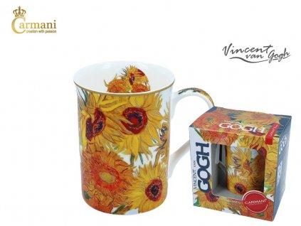 """Carmani - Porcelánový hrnek Van Gogh """"Slunečnice"""" v dárkové krabičce - 400 ml"""