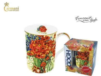 """Carmani - Porcelánový hrnek Van Gogh """"Kytice ve váze"""" v dárkové krabičce - 400 ml"""