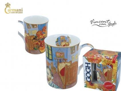 """Carmani - Porcelánový hrnek Van Gogh """"postel"""" v dárkové krabičce - 400 ml"""
