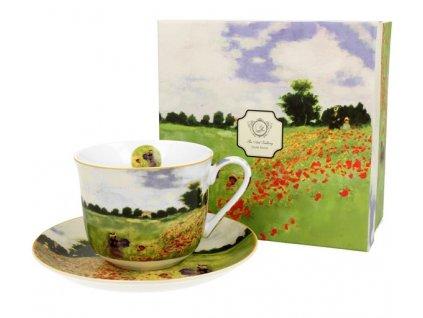 Porcelánový šálek s podšálkem jumbo Monet Poppy v dárkové krabičce - 450 ml