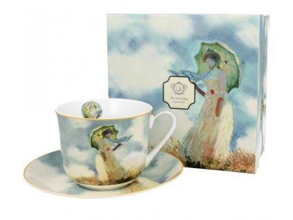 DG - Porcelánový šálek s podšálkem jumbo Monet Woman v dárkové krabičce - 450 ml