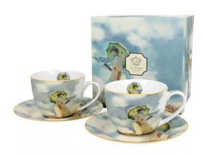 Porcelánové šálky s podšálkem Monet Woman v dárkové krabičce - 280 ml