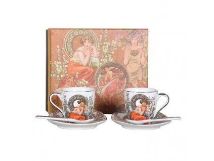 Porcelánové hrnky na espresso Alfons Mucha se lžičkou v dárkovém balení - 2*100 ml