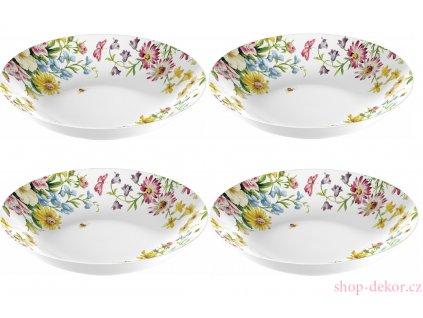 4 ks - Porcelánové talíře English Garden na těstoviny - 4* /20,5*20,5*4,5 cm/