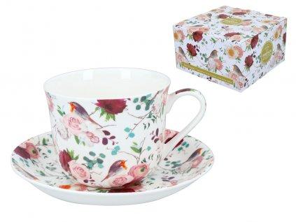 """B.E - Porcelánový šálek s podšálkem """"Růže s ptáčky"""" v dárkové krabičce - 450 ml"""