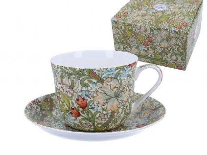 """B.E - Porcelánový šálek s podšálkem """"Wiliam Morris Golden Lily"""" v dárkové krabičce - 450 ml"""