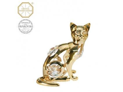 """Swarovski - designová figurka """"KOČKA"""" s bílými krystaly Swarovski Elements v dárkové krabičce - 7 cm"""