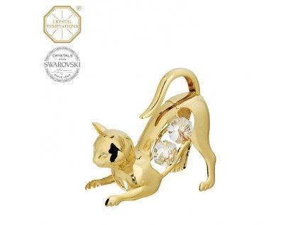"""Swarovski - designová figurka """"KOTĚ"""" s bílými krystaly Swarovski Elements v dárkové krabičce - 6 cm"""
