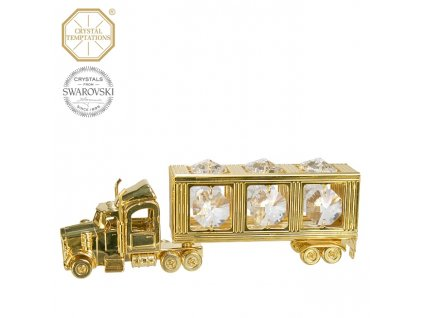 """Swarovski - designová figurka """"KAMION"""" s bílými krystaly Swarovski Elements v dárkové krabičce - 4*11,3 cm"""
