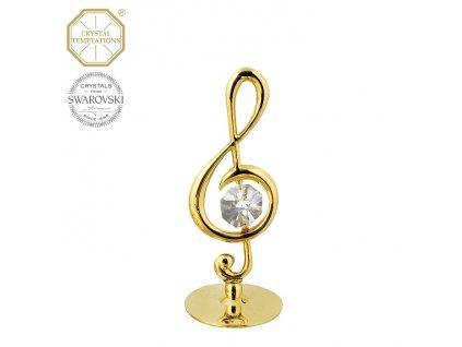 """Swarovski - designová figurka """"HOUSLOVÝ KLÍČ"""" s bílými krystaly Swarovski Elements v dárkové krabičce - 7,5*4,5 cm"""