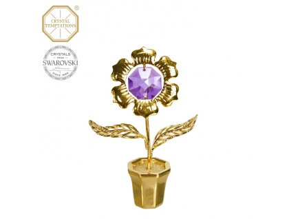 """Swarovski - designová figurka """"KYTIČKA"""" s fialovými krystaly Swarovski Elements v dárkové krabičce - 7 cm"""