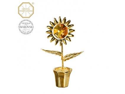 """Swarovski - designová figurka """"SLUNEČNICE"""" se žlutým krystalem Swarovski Elements v dárkové krabičce - 7 cm"""