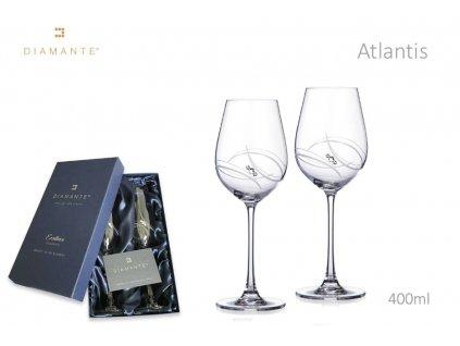 Swarovski - Atlantis skleničky na víno s bílými krystaly Swarovski Elements v dárkovém balení - 2*400 ml