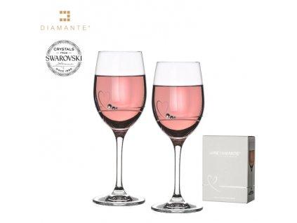 Swarovski - Petit Heart na víno s bílými krystaly Swarovski Elements v luxusním balení - 2*240 ml