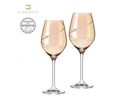 Swarovski - Silhouett skleničky na bílé víno s bílými krystaly Swarovski Elements v dárkovém balení - 2*360 ml