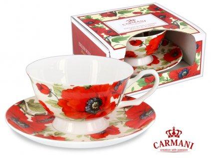 """Carmani - Porcelánový šálek s podšálkem """"Vlčí máky"""" v dárkové krabičce - 200 ml"""