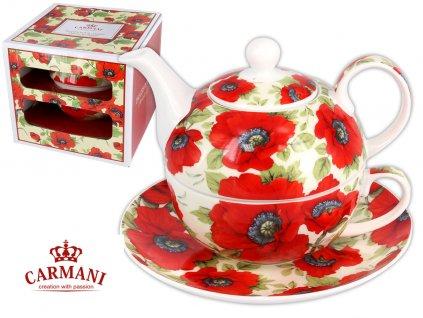 """Carmani - Porcelánový šálek s konvičkou a podšálkem """"Vlčí máky"""" v dárkové krabičce - 300 ml"""