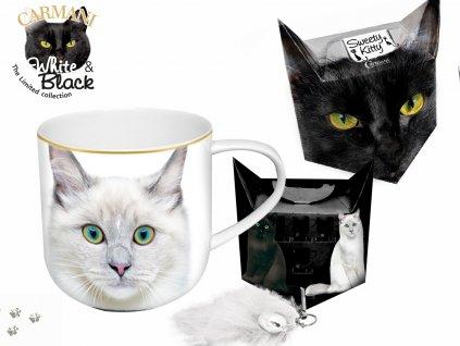 """Carmani - Porcelánový hrníček """"Bílá kočka"""" v dárkové krabičce s ocáskem - 500 ml"""