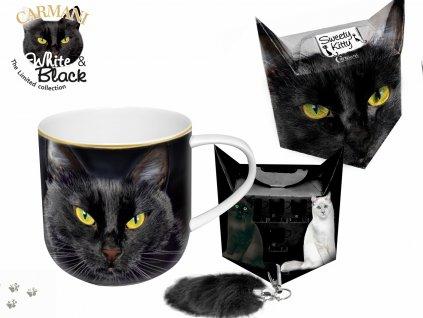 """Carmani - Porcelánový hrníček """"Černá kočka"""" v dárkové krabičce s ocáskem - 500 ml"""