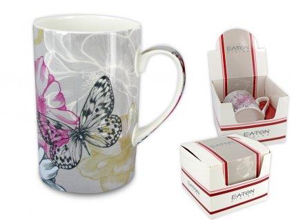 """EATON - Porcelánový hrníček """"London Buttefly Dream - šedé pozadí"""" v dárkové krabičce - 350 ml"""