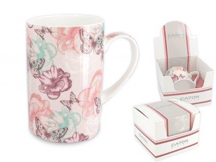 """EATON - Porcelánový hrníček """"London Buttefly Dream - růžové pozadí"""" v dárkové krabičce - 350 ml"""