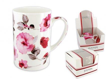 """EATON - Porcelánový hrníček """"London Peony - bílé pozadí"""" v dárkové krabičce - 350 ml"""