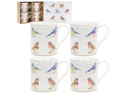 """Leonardo - Sada porcelánových hrníčků """"Venkovský život ptáků"""" v dárkové krabičce - 4 ks"""