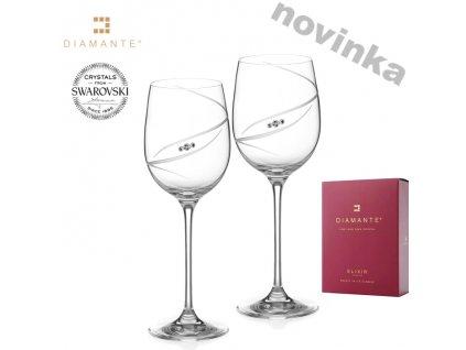 Swarovski - Double Silhouett skleničky na víno s bílými krystaly Swarovski Elements v dárkovém balení - 2 ks