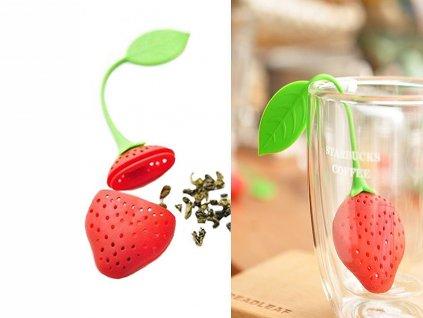 Sagrado - Čajítko ve tvaru červené jahody s listem - 13*5*2 cm