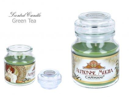"""A. Mucha - Vonná svíčka ve skle """"Zelený čaj """" - 335 g"""