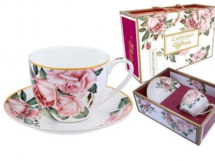 """Carmani - Porcelánový šálek s podšálkem """"Květy růže""""v dárkové krabičce - 475 ml"""