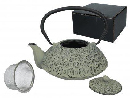 Carmani - Litinový čajník s kovovým sítkem v barvě zelené s patinou - 1,2 l