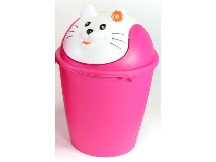 """Dětský odpadkový koš  8 litrů """"KOČKA"""" v růžovo-bílé barvě - d26,8,v.40cm"""