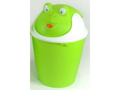 """Dětský odpadkový koš  """"ŽÁBA"""" v zeleno-bílé barvě  d26,8, v.40cm - 8 l"""