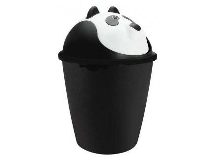 """Dětský odpadkový koš """"PANDA"""" výklopný v černo-bílé barvě - 6 l"""