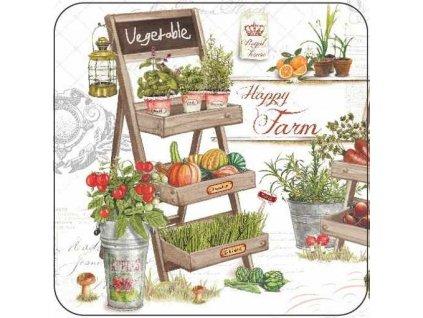 Korkové prostírání pod skleničky Happy Farm, poličky Vegetable a Organic
