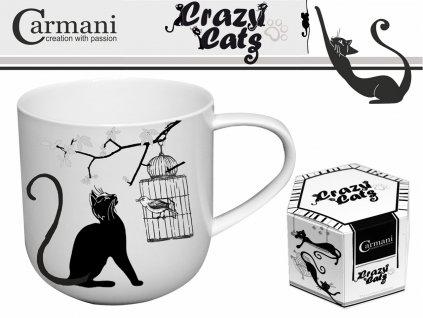 """Carmani - Porcelánový hrníček """"Kočka a ptáček v kleci"""" v dárkové krabičce - 500 ml"""
