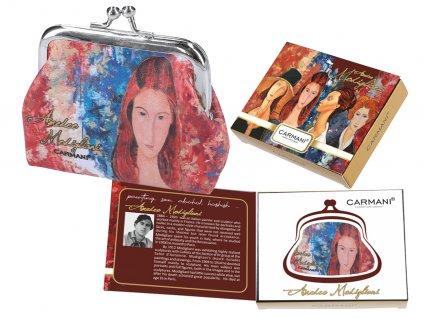 Carmani - Malá peněženka A. Modigliani II v dárkové krabičce - 9*7,5*2 cm