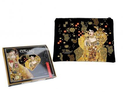 """Carmani - Kosmetická taštička  G. Klimt """"Adele Bloch Bauer"""" v dárkové krabičce - 22*16,5*1 cm"""