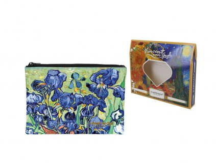 "Carmani - Kosmetická taštička  V. Van Gogh ""Irysy"" v dárkové krabičce - 22*16,5*1 cm"