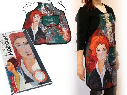 Kuchyňská zástěra A. Modiglian Portrét ženy