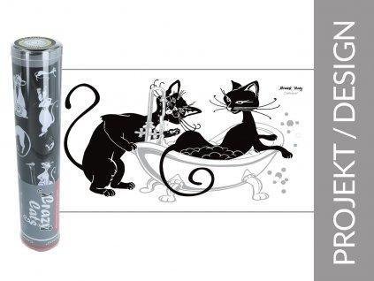 """Ručník Koupající se kočky """"bílé pozadí"""" v dárkové krabičce"""