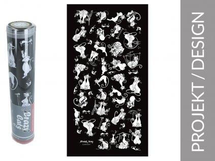 """Ručník Všechny kočky světa """"černé pozadí"""" v dárkové krabičce"""