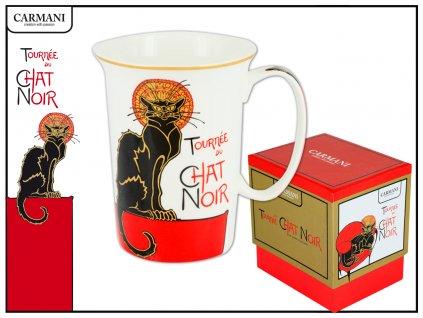 """Carmani - Porcelánový hrníček  """"Francouzská černá kočka - sedící"""" v dárkové krabičce - 400 ml"""