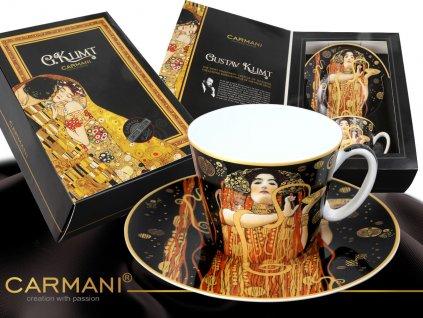 """Carmani - Porcelánový šálek s podšálkem Gustav Klimt """"Medicína"""" v dárkové krabičce - 250 ml"""