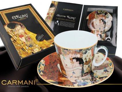 """Carmani - Porcelánový šálek s podšálkem Gustav Klimt """"Tři roky ženy - mateřství"""" v dárkové krabičce - 250 ml"""