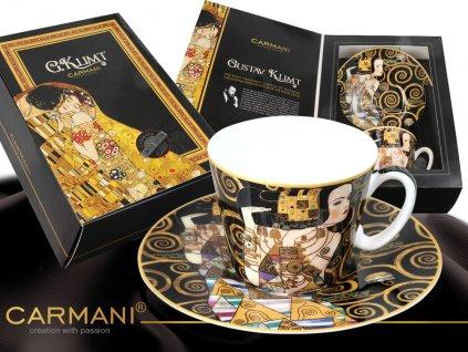 """Carmani - Porcelánový šálek s podšálkem Gustav Klimt """"Očekávání"""" v dárkové krabičce - 250 ml"""