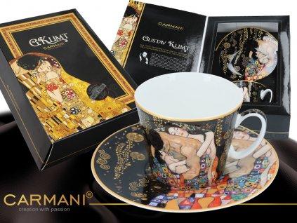 """Carmani - Porcelánový šálek s podšálkem Gustav Klimt """"Rodina"""" v dárkové krabičce - 250 ml"""